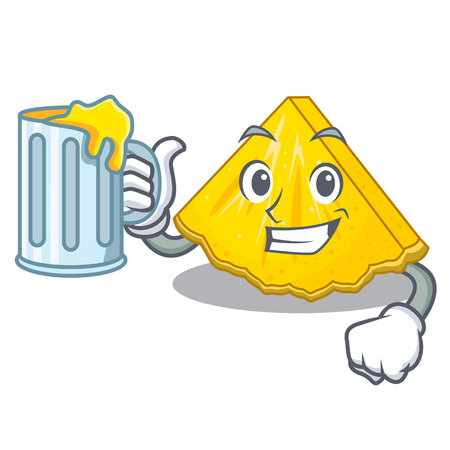 With juice pineapple slice in a cartoon fridge vector illustration