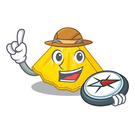 Explorer pineapple slice in a cartoon fridge vector illustration Illustration