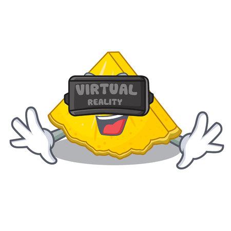 Virtual reality pineapple slice in a cartoon fridge vector illustration