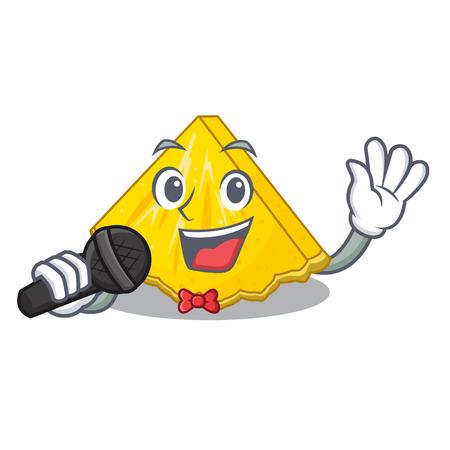 Singing pineapple slice in a cartoon fridge vector illustration 向量圖像