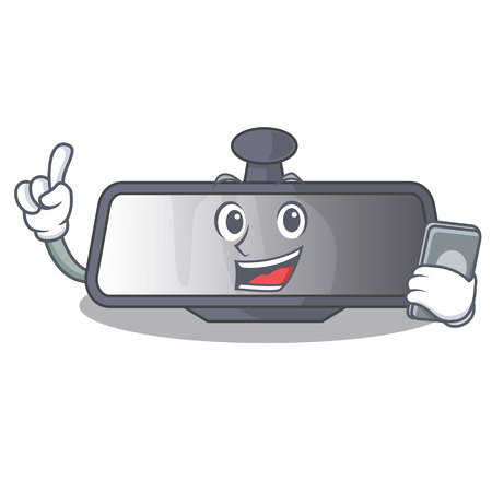 With phone rear view mirror isolated with mascot Stock Illustratie
