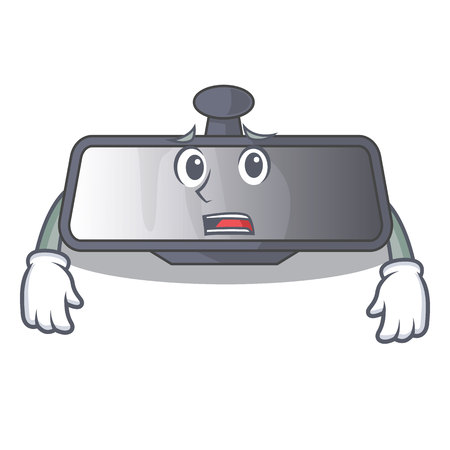 Afraid rear view mirror in cartoon car vector illustration