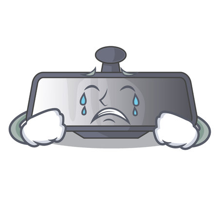 Crying rear view mirror in cartoon car vector illustration
