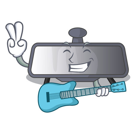 With guitar rear view mirror in cartoon car vector illustration