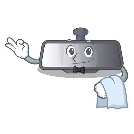 Waiter rear view mirror in cartoon car vector illustration
