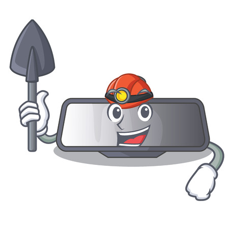 Miner rear view mirror in cartoon car vector illustration