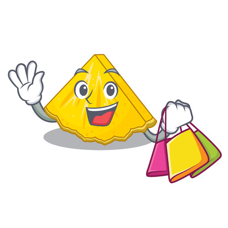 Shopping pineapple slice isolated in the mascot vector illustration