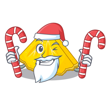 Santa with candy pineapple slices on a cartoon plate vector illustration