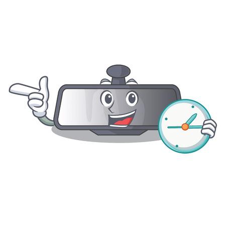 With clock rear view mirror in cartoon shape vector illustration Illustration