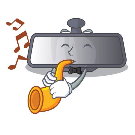 With trumpet rear view mirror in cartoon car vector illustration Ilustração