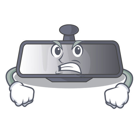 Angry rear view mirror in cartoon car vector illustration Ilustração