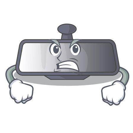 Angry rear view mirror in cartoon car vector illustration Illustration