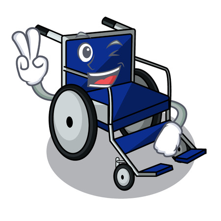 Two finger wheelchair in the a character shape vector illustration