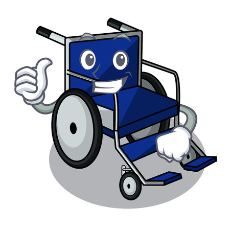 Thumbs up wheelchair in the a character shape vector illustration Ilustração