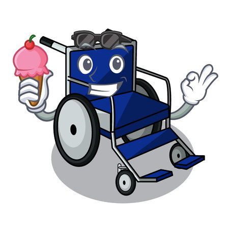 With ice cream wheelchair in the a character shape vector illustration Ilustração