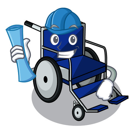 Architect wheelchair in the a character shape vector illustration