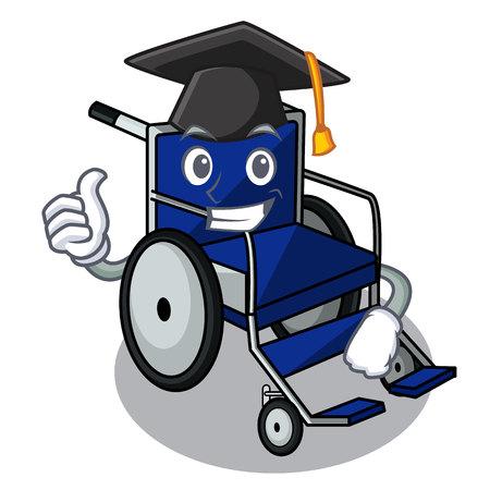 Graduation wheelchair in the a character shape vector illustration Ilustração