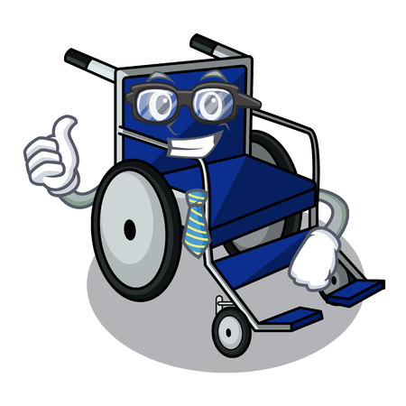 Businessman wheelchair in the a character shape vector illustration Ilustração
