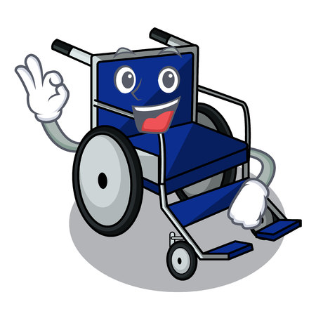 Okay wheelchair in the a character shape vector illustration