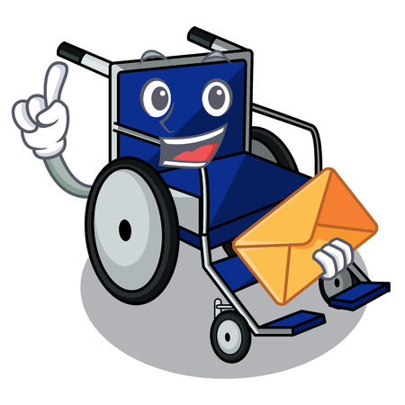 With envelope wheelchair in the a character shape vector illustration Ilustração