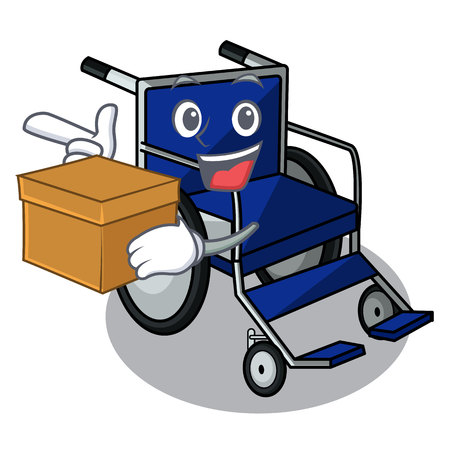 With box wheelchair in the a character shape vector illustration Ilustração