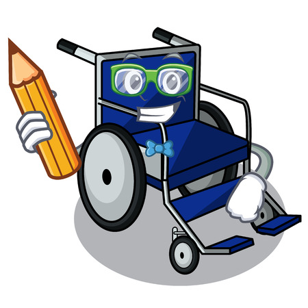 Student wheelchair in the a character shape vector illustration