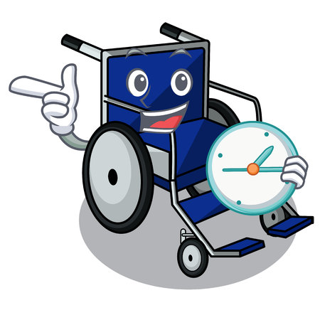 With clock wheelchair in the a character shape vector illustration