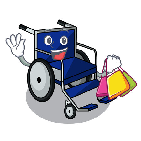 Shopping wheelchair in the a character shape vector illustration Ilustração