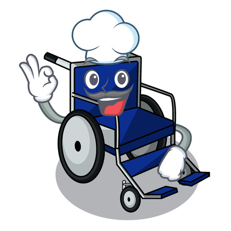 Chef wheelchair in the a character shape vector illustration