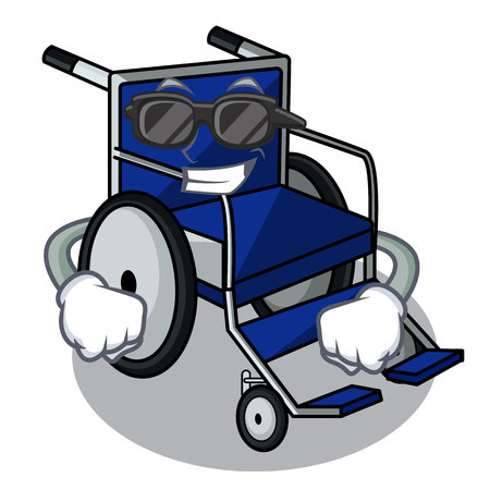 Super cool wheelchair in the a character shape vector illustration Ilustração