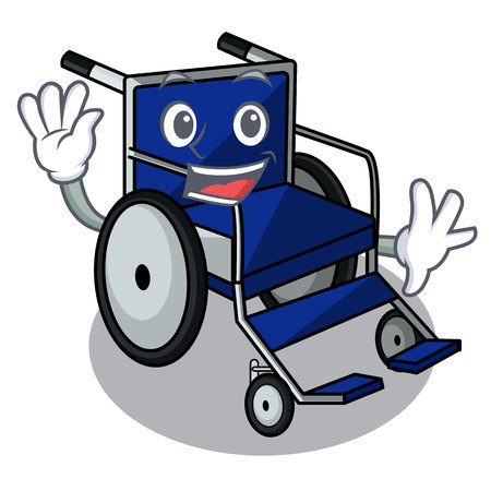 Waving wheelchair in the a character shape vector illustration