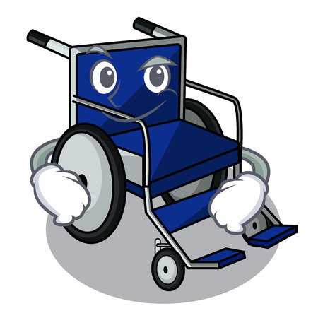 Smirking wheelchair in the a character shape vector illustration Ilustração