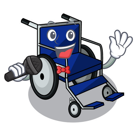 Singing cartoon wheelchair in a hospital room  イラスト・ベクター素材