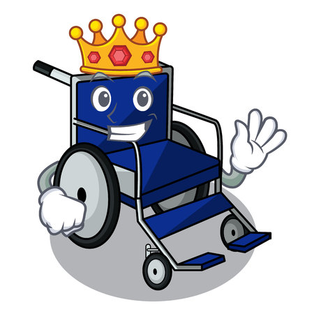 King miniature wheelchair the shape of mascot vector illustration Illustration