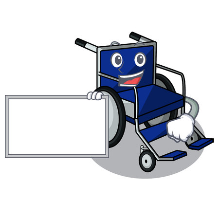 With board wheelchair isolated with in the cartoon vector illustration