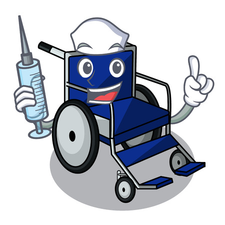 Nurse wheelchair in the a character shape vector illustration Imagens - 124277671