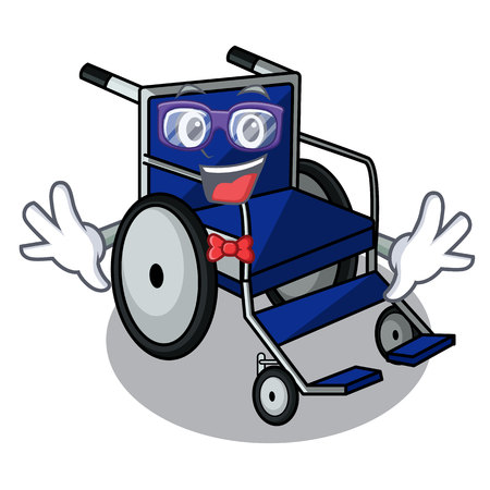 Geek wheelchair in the a character shape vector illustration
