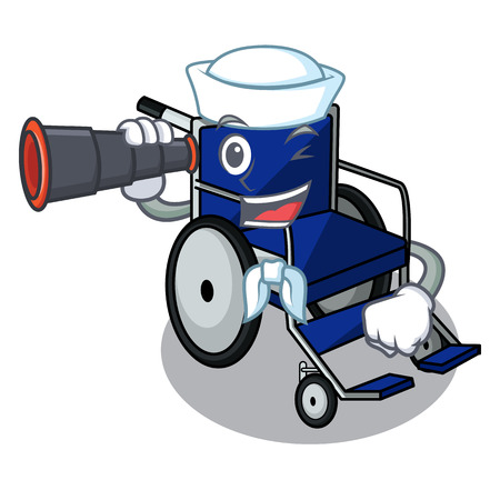 Sailor with binocular cartoon wheelchair in a hospital room