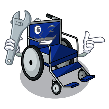 Mechanic miniature wheelchair the shape of mascot vector illustration