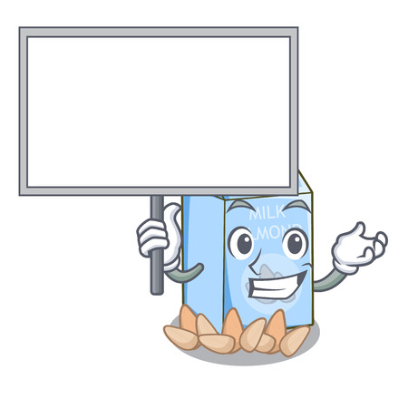 Bring board almond milk in the character glass vector illustration
