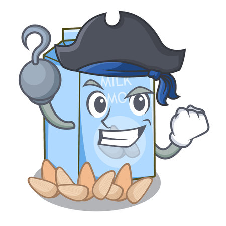 Pirate almond milk in the character bottle vector illustration Иллюстрация