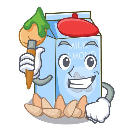 Artist almond milk in the character bottle vector illustration