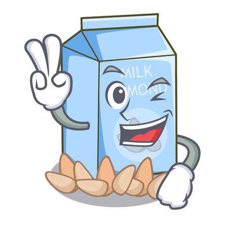 Two finger almond milk isolated in the mascot vector illustration Stock Illustratie