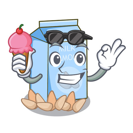 With ice cream almond milk isolated in the mascot vector illustration Stock Illustratie