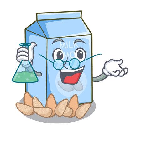 Profesor mleko migdałowe na białym tle na ilustracji wektorowych maskotki