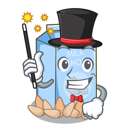 Magician almond milk in the cartoon shape vector illustration