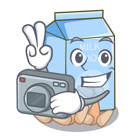 Photographer almond milk in the cartoon bottle vector illustration Ilustracje wektorowe