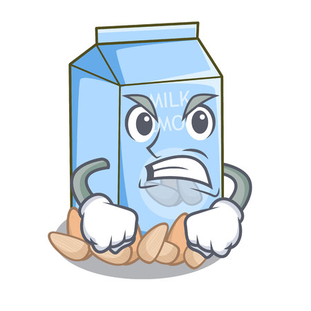 Angry almond milk in the cartoon bottle vector illustration Illustration