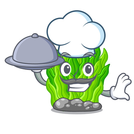 Chef with food miniature green seaweed above mascot table Иллюстрация
