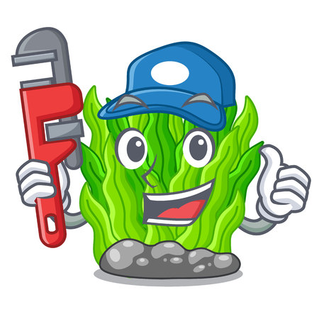Plumber green seaweed in a cartoon aquarium